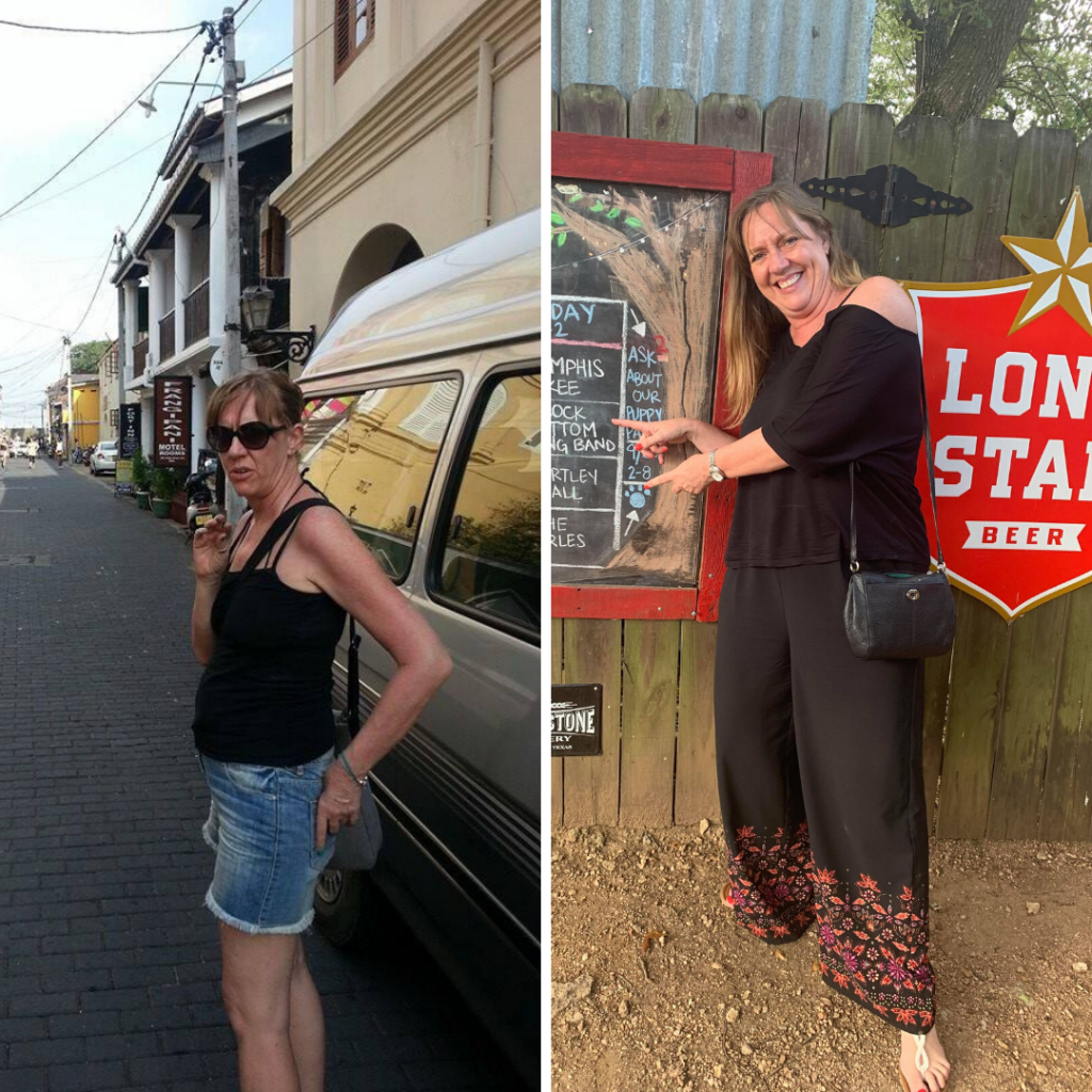 A side by side image of Jane Gammage showing her just after her diagnosis when she was incredibly thing compared to a recent photo of her happy and enjoying herself.